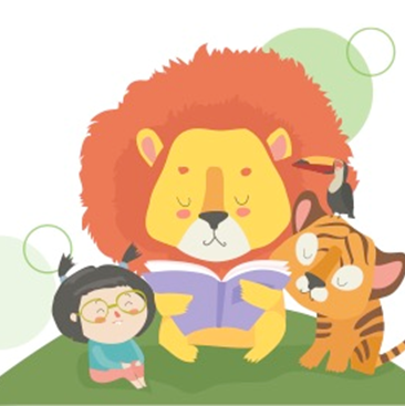 Lion reading to child, toucan, and tiger