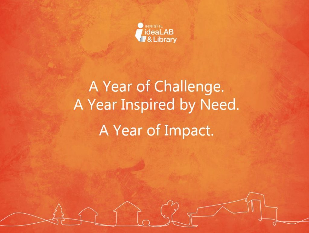 Text only title page of 2020 Library year end report. A year of challenge. A year inspired by need. A year of impact. Links to the full report.