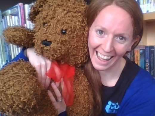 Person hugging teddy bear