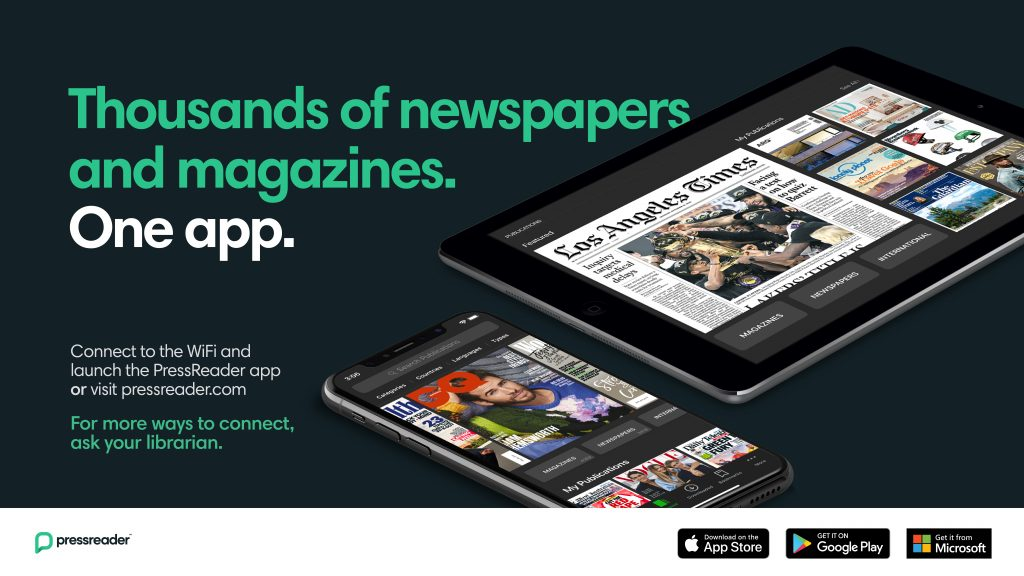 Photo of two devices, one a mobile phone, one an iPad with the words thousands of newspapers and magazines. One app.
